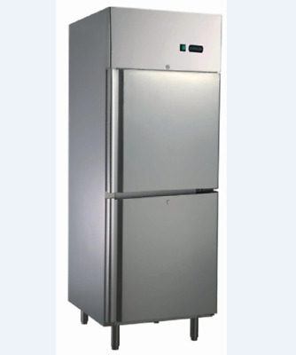 Commercial Upright Freezer Two Solid half Door 550L 304 Stainless Steel
