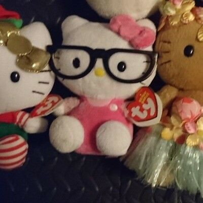 Ty Original Beanie Babies Hello Kitty by Sanrio w/ Black Glasses NWT
