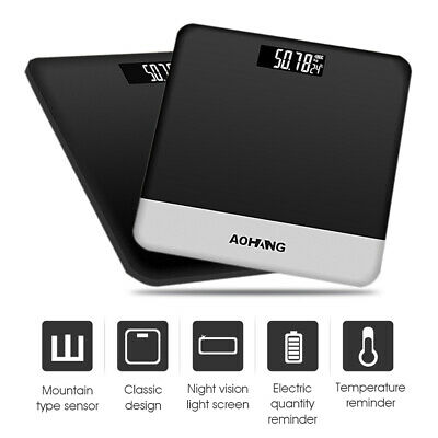 190kg/400lb Electronic Bathroom Scale LCD Digital Glass Body Fat Weight Fitness