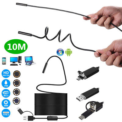 8LED 8mm HD Motorcycle Inspect Camera 10m Hard Endoscope Tube for Android WinOS