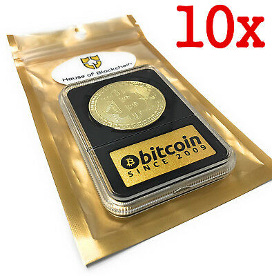 10x Rare 1 oz .999 Pure Gold Plated Bitcoin Collects BTC is 2018 Up Coins No box