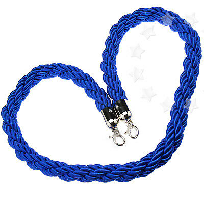 New Queue Divider Crowd Control Stanchion 1.5M Twisted Barrier Rope Blue