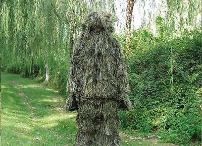 Ghillie Suit 3D 4 Piece +Bag Set Camouflage Sniper Hunting Woodland Green Camo~j
