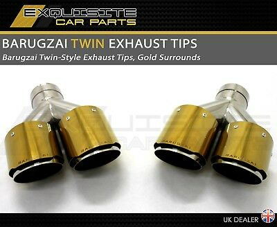 Barugzai Design Exhaust Tips Twin Style 4 Inch Quality Performance Gold Surround