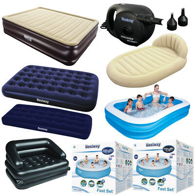INFLATABLE QUEEN DOUBLE AIRBED RECTANGULAR POOL 5in1 SOFA POWERGRIP PUMP