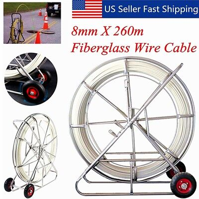 260M/853ft Fish Tape 8mm Fiberglass Wire Cable Running Rod Duct Rodder Puller