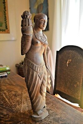 Antique Wooden Curved Statue Woman Figure Holding Lotus Far East 18""