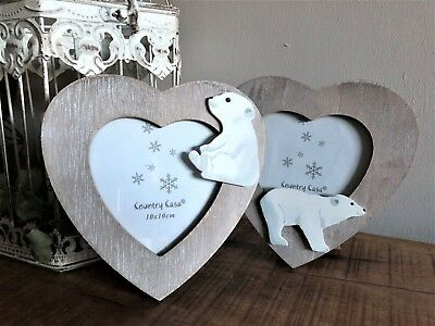 Rustic Wooden Heart Shaped Polar Bear Picture Photo Frame Present Nursery Gift