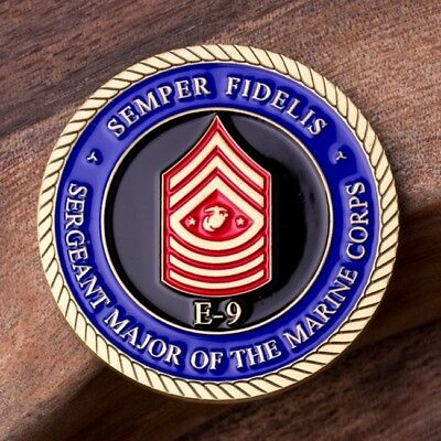 USMC Sergeant Major of the Marine Corps E9 Rank Challenge Coin