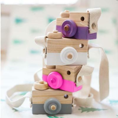 Kids Cute Wood Camera Toy Xmas Children Room Decor Natural Safe Wooden Camera FT