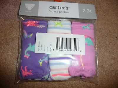New Carter's 3 Pack Underwear Girls Panties NWT size 4-5T dinosaur prints CUTE!
