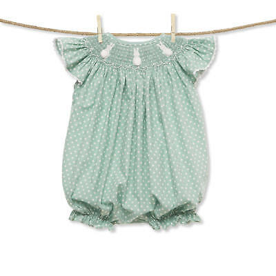 Mint Polka Dot Easter Bunny Smocked Romper NEW * bubble girl boutique*