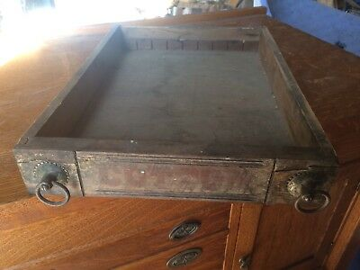 "Antique Cotton 12.25""x16.5"" Wooden Pull Drawer Spool Thread Box"