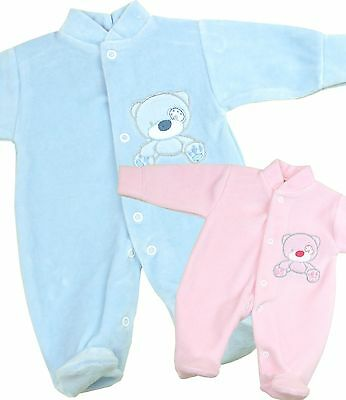 BabyPrem Baby Clothes Premature Early Tiny Boys Girls Velour Sleepsuit Babygrow
