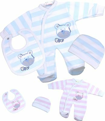 BabyPrem Baby Clothes Boys Girls Premature Tiny 3 Piece Set Sleepsuit Hat Bib