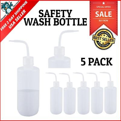 Safety Squeeze Wash Bottle for Laboratory Use Plastic Narrow Mouth 500ml 5 Pack