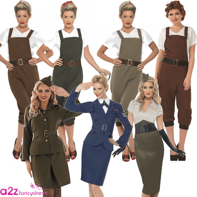 WW2 1940s LADIES WARTIME LAND GIRL PILOT ARMY FANCY DRESS COSTUME OUTFIT