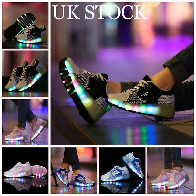 Girls Boys Light Roller Heelys Skate Shoes UK Kids LED Flash Jazzy Junior Shoes