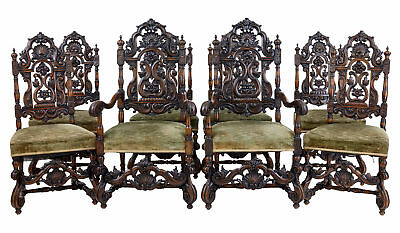 Rare Set Of 8 19Th Century Carved Walnut Carolean Design Dining Chairs