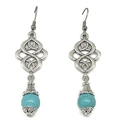 Celtic Knot Earrings - Retro Earrings with Blue Beads - Antique Style Jewelry