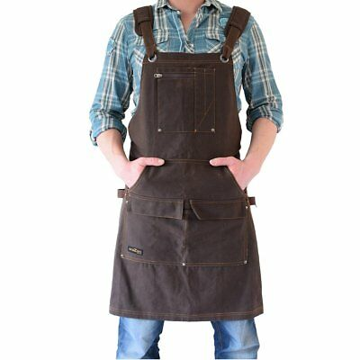 Shop Apron - Waxed Canvas Work Apron with Pockets | Waterproof, Fully Adjustable