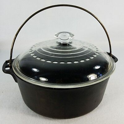 Antique Cast Iron Dutch Oven 5 qt. Made in USA Glass Top