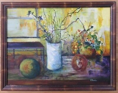 Listed Artist MODERN Oil Painting Framed art Original Signed canvas vintage pop