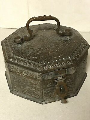 Antique Beautifully Crafted Copper Betel Nut Box Paan-Daan Complete Spice Asian