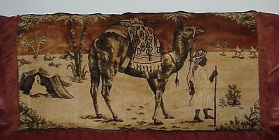 Antique 40 X 22 1920's Egyptian Revival Camel Middle East Tapestry Wall Hanging