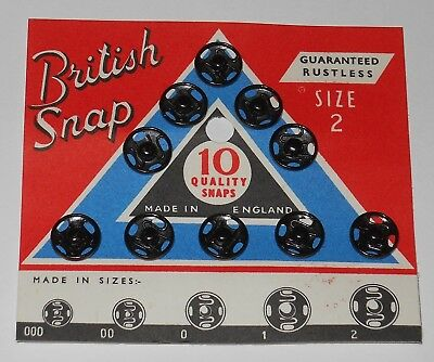 Size #2 ~ Antique Vintage British black Snaps Fasteners Sewing Notions #3802