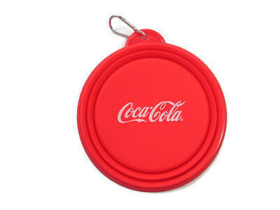 Coca-Cola Collapsible Silicone Pet Snack Bowl with Carabiner Clip- BRAND NEW