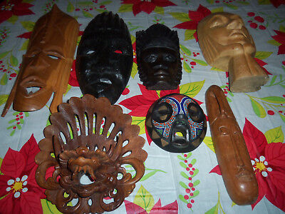 Lot Of Six Vintage Hand Carved Wooden Indonsian,African,Nigerian Mask Rare!