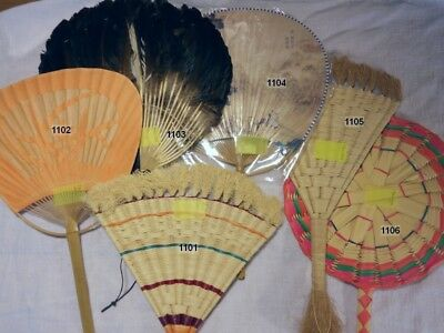 Various Antique Hand-held Fans (wicker, paper, grass, rattan) FREE SHIPPING