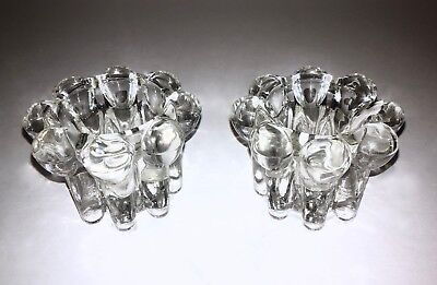 Pair Set Of 2 Crystal Candlestick Holders Glass Clear Elegant Decorative Vintage