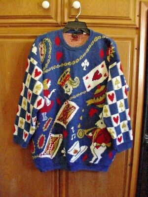Vintage Alice In Wonderland Sweater By Selena Faye & Made In England Size Large