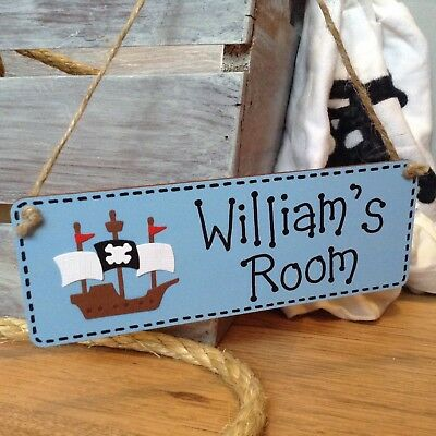 Handcrafted personalised name boys Pirate Ship bedroom door / room sign plaque
