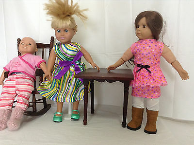 """18"""" Girl Doll Clothes 3 Sets Dress Boots Leggings Pajamas American Made & Chines"""