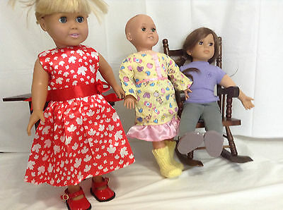"""18"""" GIRL DOLL CLOTHES 3 Complete Outfits Shoes Dress Pajamas American Made & Chi"""