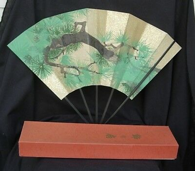 Vint 2 SIDED JAPANESE FAN ORIG BOX w BAMBOO STAND Pine Tree & POETRY