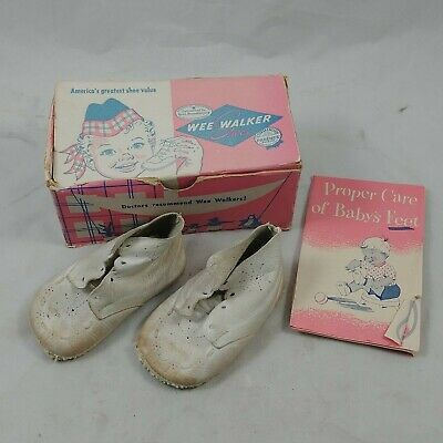 fb Vtg Wee Walker Shoes White Genuine Leather Unisex Size 3 Baby Shoes Original