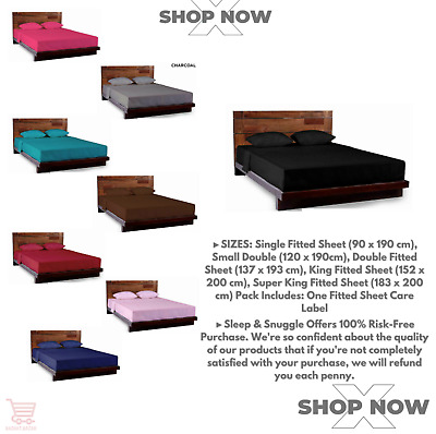 Poly Cotton Plain Fitted Bed Sheets Single 4FT Double King mattress cover deep