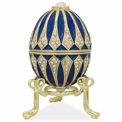 Blue Enamel Jeweled Royal Inspired Russian Easter Egg 3.25 Inches