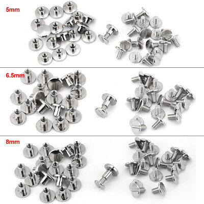 20 Set 5/6.5/8mm Brass Flat Head Screwback Screw Rivets Silver Leather Craft DIY