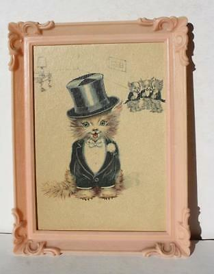 Cat-Kitten w-Top Hat-Black Jacket-Bow Tie Plastic Framed Picture Kids Room Decor