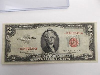 1953B $2 (STAR NOTE) Raw! United States Currency RED Seal!