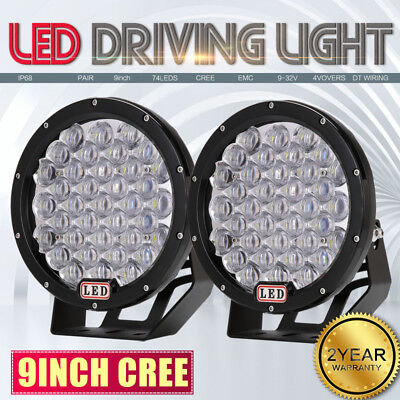9inch 99999W Black CREE LED Round Spotlight Work Driving Light Off Road ATV 4WD