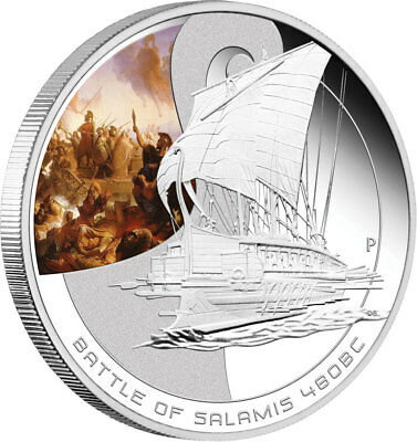 2010 Famous Naval Battles Salamis 1 oz Silver Proof Coin with BOX & COA