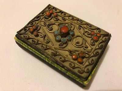 Antique Vintage Metal Jeweled Wire Small Matchsafe Match Box Holder Ornate