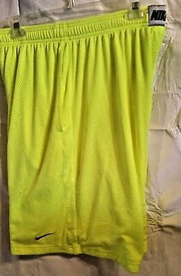 Nike Dri Fit Neon Yellow Shorts Athletic Basketball Running Mens Size L