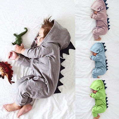 Newborn Baby Cute Dinosaur Outfit Hooded Romper Bodysuit Soft Playsuit 0-18Month